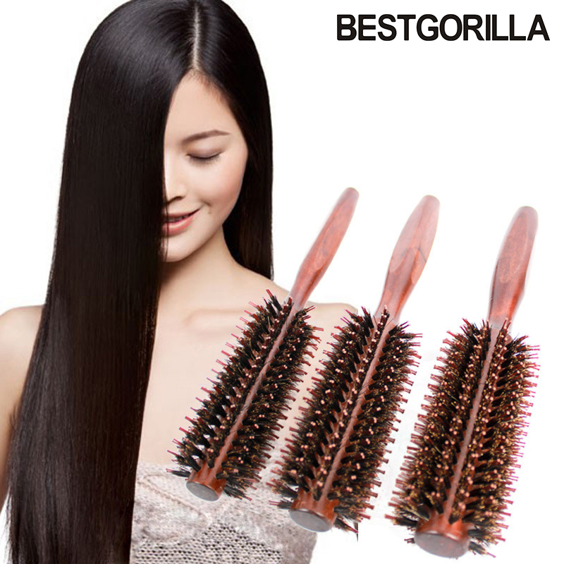 BESTGORILLA Fashion Wooden combs bristles combs round combs blows straight hair curls combs antistatic rolls