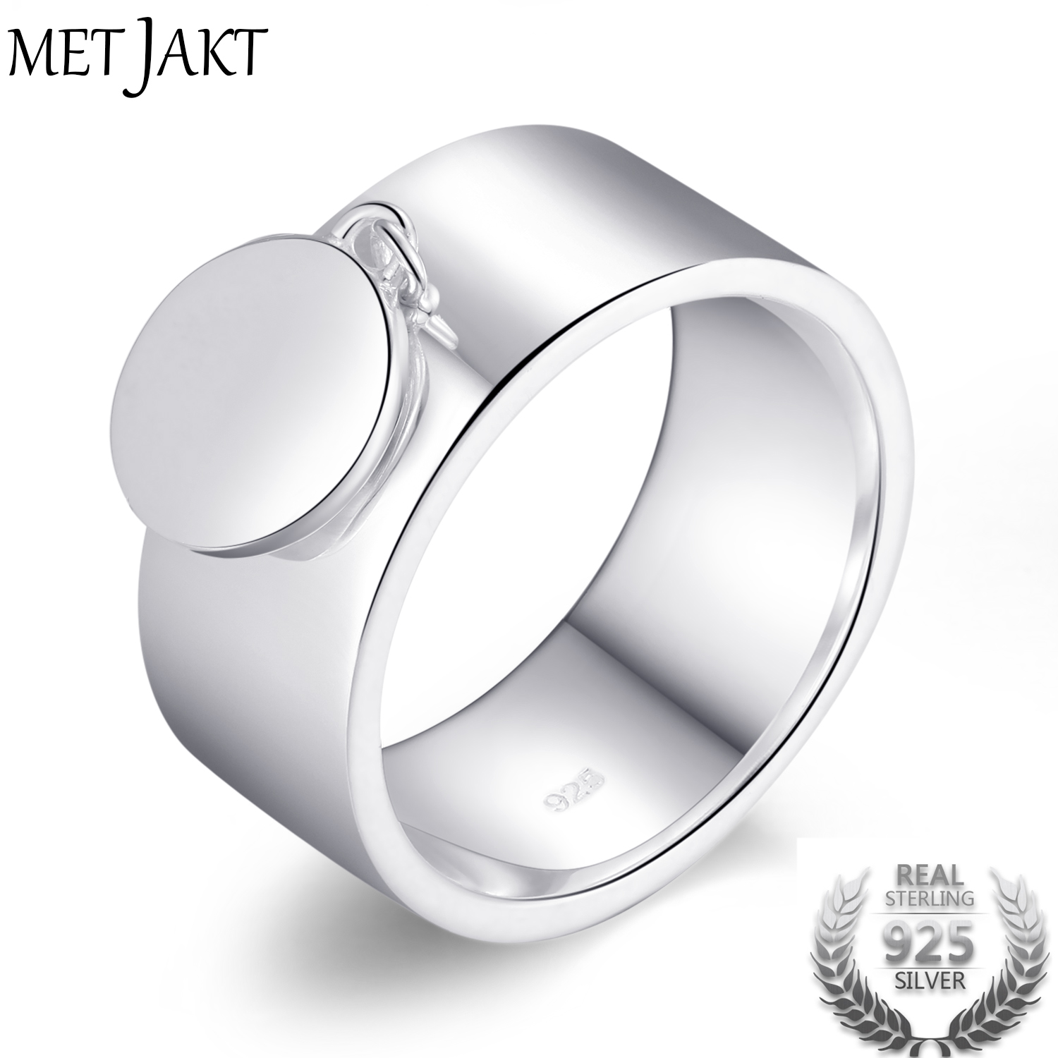 MetJakt Classic 925 Sterling Silver Round Charm Rings for Girlfriend Mother Friend Perfect Gift Pendant RingMetJakt Classic 925 Sterling Silver Round Charm Rings for Girlfriend Mother Friend Perfect Gift Pendant Ring