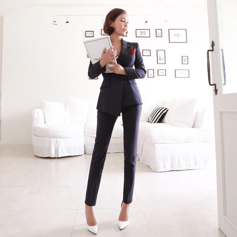 Irregular Striped Women Pant Suits Single Breasted Blazer Jacket and Slim Pencil Pant 2 Pieces Set