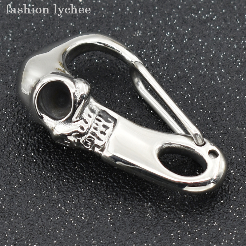 fashion lychee Retro Titanium Steel Skull Clasp Carabiner DIY Keychain For Women Men Hook Fob Clip Jewelry Gift
