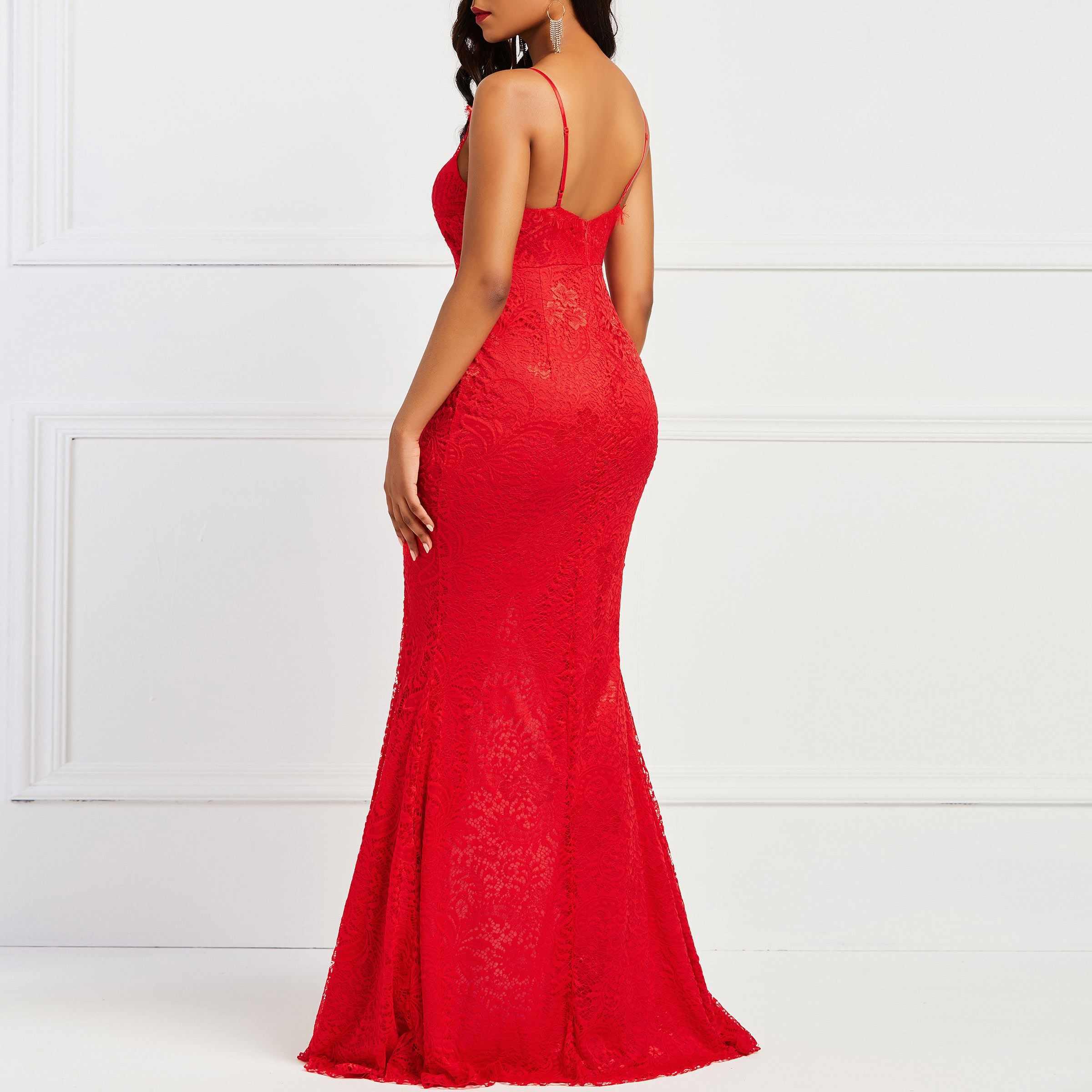 Асимметричное облегающее платье без рукавов боковое вентиляционное женское элегантное вечернее красное сексуальное вечернее кружевное длинные платья с разрезом