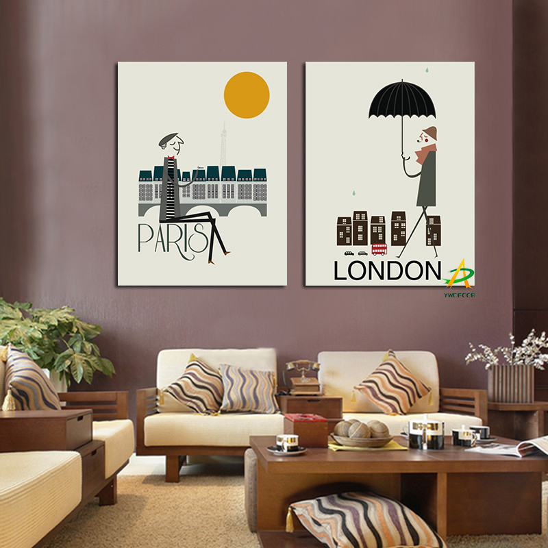 Ywdecor 2panel Modern Building Canvas Painting Paris Dusk