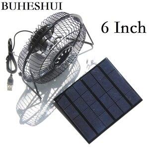 """Image 3 - BUHESHUI 4 """"6"""" 8 pouces ventilateur de Ventilation de refroidissement USB 3 W 3.5 W 5.5 W 6 V panneau solaire alimenté ventilateur de fer pour la pêche en plein air de bureau à domicile"""