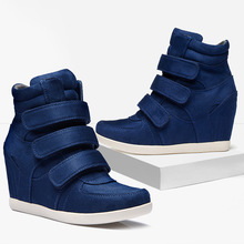 2018 Fashion high top shoe Women Ankle Boots Wedges Girl Lady Shoes Height Increasing Hook Loop Winter Shoes hip hop Star Runway