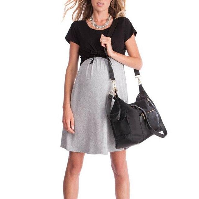 f3f5030b66e Women Maternity Lady Dress Short Sleeve Round Neck Breastfeeding Pregnant  Nursing M09