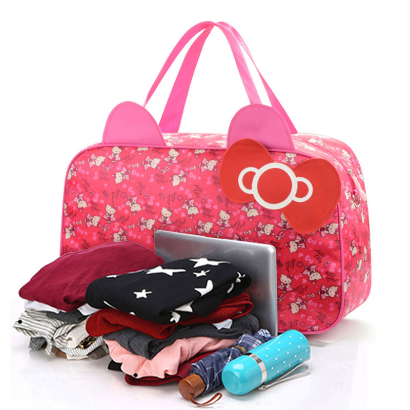 9a14ab712df3 Waterproof Travel Bag Luggage Womens Girls Cartoon Shoulder Tote Duffle  Bags Cute Hello Kitty Cat Handbags Accessories Supplies-in Top-Handle Bags  from ...