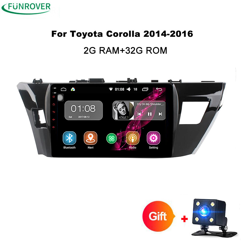 Funrover 10.1 Android 8.0 Car GPS Player Navi for Toyota Corolla 2014-2016 with 2G+32G Quad Core RDS Stereo Multimedia No DVD