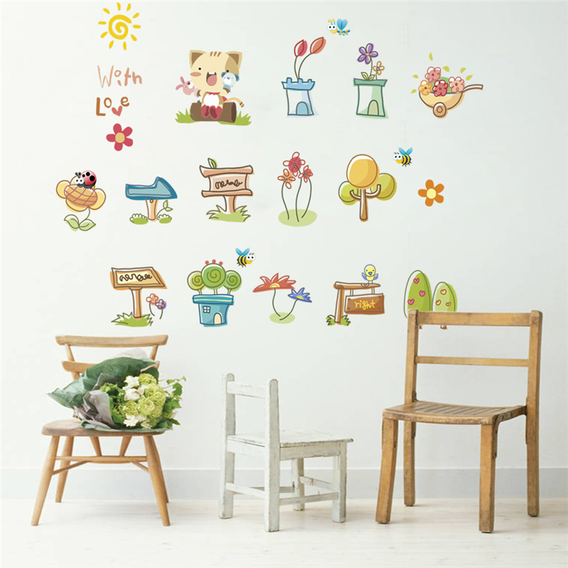 funny cat pot butterfly plant flower wall stickers for