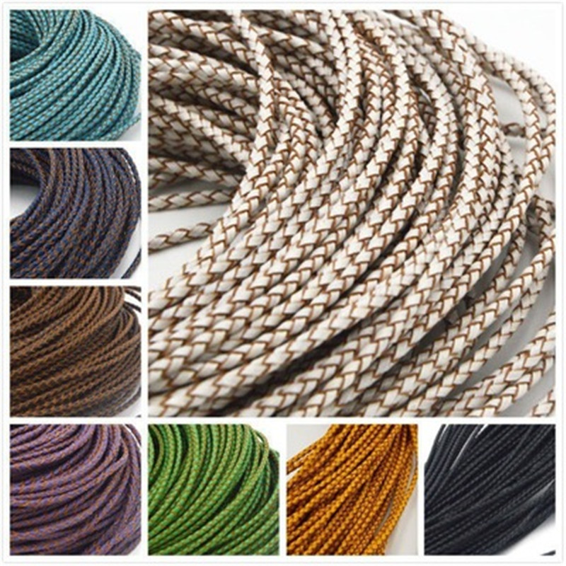 1m/lot 3mm Round Genuine Braided Leather Cord 7colors Real Cow Leather Cords String Rope Bracelet Findings Diy Jewelry Making