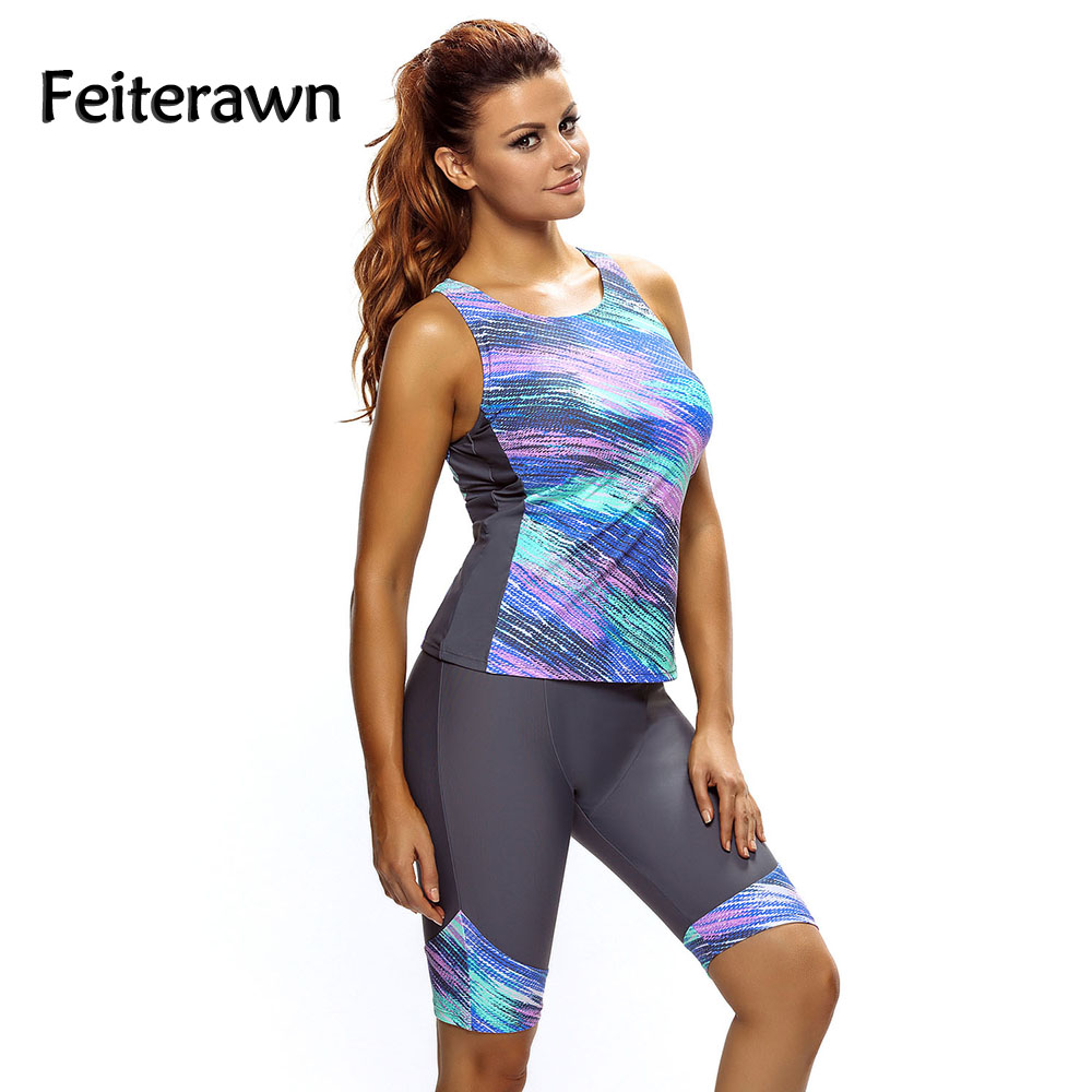 1c53f77a89f82 Feiterawn2019 Women Swimwear Sleeveless Top and Cropped Pants 2PCS Unitard  Swimsuit High Waist Plus Size Bathing Suits DL410061-in Body Suits from  Sports ...