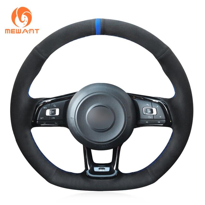 MEWANT Black Suede DIY Hand Sew Car Steering Wheel Cover for Volkswagen VW Golf 7 GTI