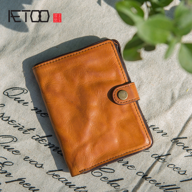 AETOO New fashion retro literary personality short Wallet, ladies Korean version leather Wallet