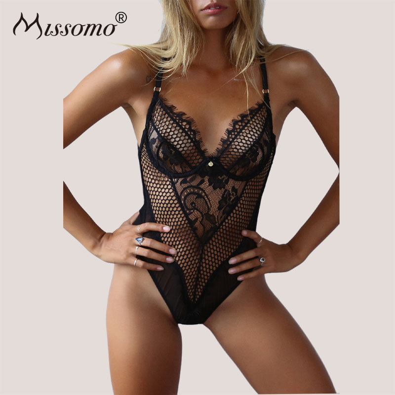 Missomo Women Lace Mesh Perspective Bodysuit Backless Hollow Out Sexy Slim Skinny Bodycon Rompers Body Overalls Jumpsuit|body overalls|bodycon romperoverall romper - AliExpress