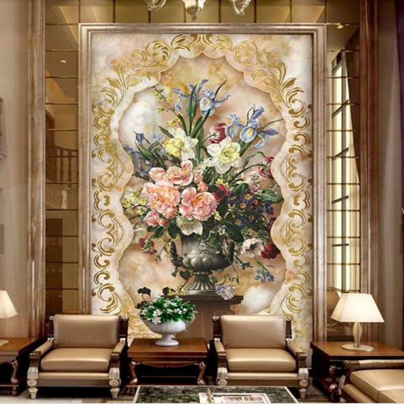Vintage Oil Painting Photo Wallpapers for Walls 3D Living Room Murals Wall Papers Home Decor Gold Marble Bedroom Sofa Backgroun custom photo size wallpapers 3d murals for living room tv home decor walls papers nature landscape painting non woven wallpapers