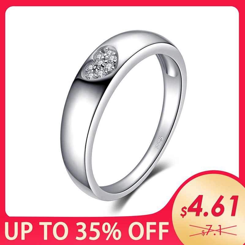 JewelryPalace Love Heart Cubic Zirconia Wedding Bands Engagement Rings Authentic 925 Sterling Silver Rings Birthday Present