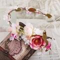 Mulheres Coroa De Flores de Casamento nupcial headband ornamento Da Flor cocar Coroa hairband acessórios para o cabelo coreano ajustável guirlandas