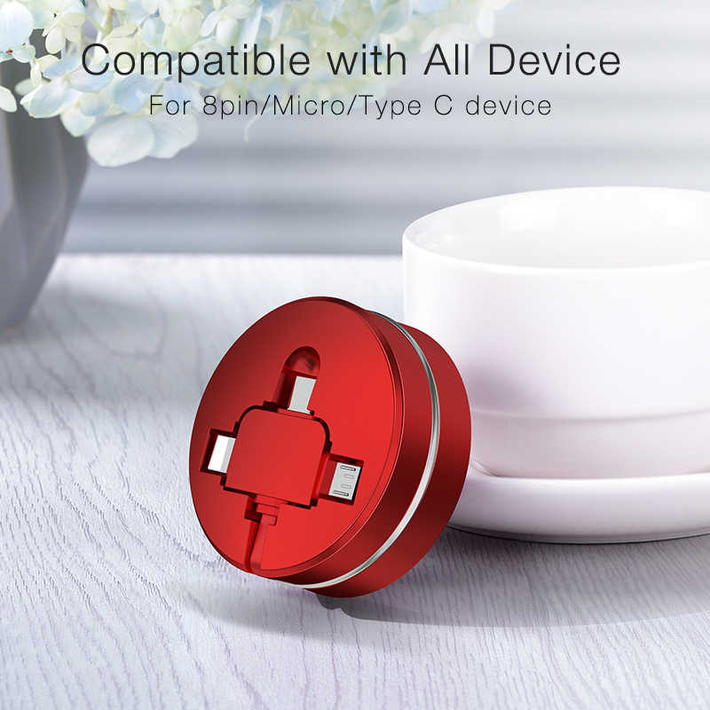 Микро-usb Многофункциональный 3 в 1Type-C 8-контактный USB кабель для IPhone 6 6s Plus 7 8 X XR XS Max Cross Дизайн выдвижной кабель данных