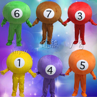 Friendly Billiard Ball Carom Mascot Costume Mascota Fancy Dress with Round White Face Black Numbers Mascot Costumes for Sale