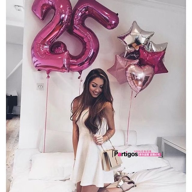 25th Year Old Number Balloons 40 Helium Gold Pink Dogit Wedding Birthday Party Girls Gifts Globos Celebrate Balls