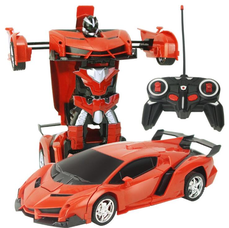 Childrens remote control toys, one-click deformation, remote control car robot Simulation, electric four-pass vehicles, remote