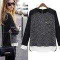 2016 primavera nueva gran tamaño moda mujer suéter de cobertura mujer de costura suéter flojo suéter de cachemira envío gratis