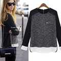 2016 spring new large size women's fashion sweater hedging women stitching loose sweater cashmere sweater free shipping