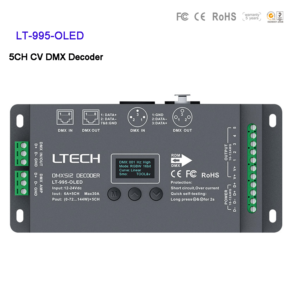 LTECH LT 995 OLED DC12V 24V 6A*5CH Max 30A 720W output RGB/RGBW CV Led DMX Decoder controller XLR 3/RJ45 Connector OLED screen|RGB Controlers| |  - title=