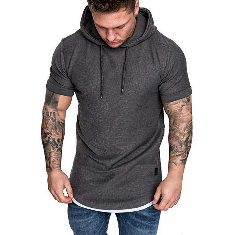 HTB11PlGRCrqK1RjSZK9q6xyypXam Laamei Men's T Shirt 2019 Summer Slim Fitness Hooded Short Sleeved Tees Male Camisa Masculina T Shirt Slim Tshirt Homme 3XL