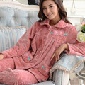 Middle - aged flannel pajamas winter coral velvet women 's home service autumn and winter suit plus code
