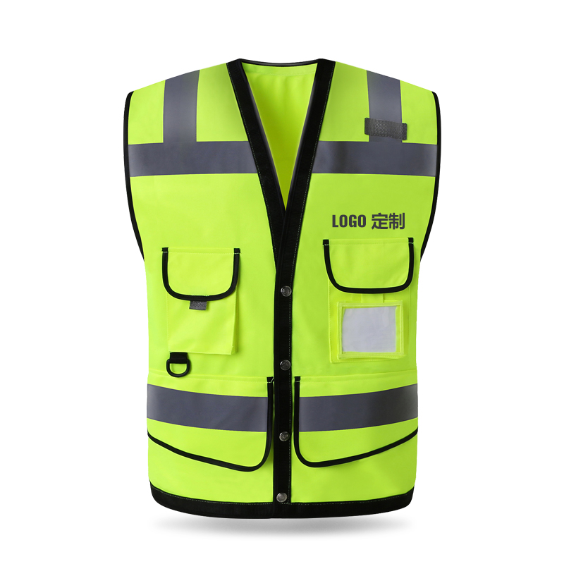 HIGH VISIBILITY HEAVY DUTY ZIPPER-FRONT REFLECTIVE SAFETY VEST WAISTCOAT MENS WITH MULTI-POCKETS fluorescence yellow high visibility