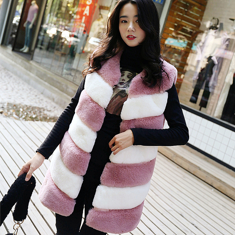 Uppin 2018 Fashion Slim Fur Vest Women Pink And White -9893