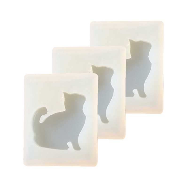 DIY Silicone Mold Cat Model UV Glue AB Diamond Crystal Drops of Glue Pendant