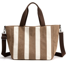 BEAU-Ladies Canvas Bag Handbag Patchwork Stripes Trendy Classic Retro Shoulder