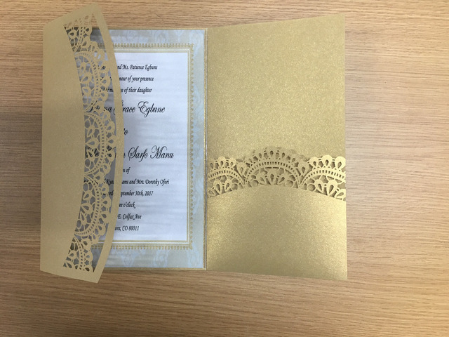 champagne gold thress folds wedding invitation card with lace pocket