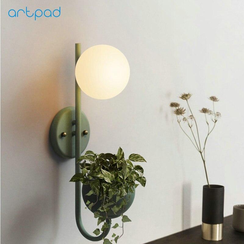все цены на Artpad Modern Wall Light Home Fixtures Glass Lampshade AC110V 220V Corridor Bedroom Living Room Wall Lamp With Holder онлайн