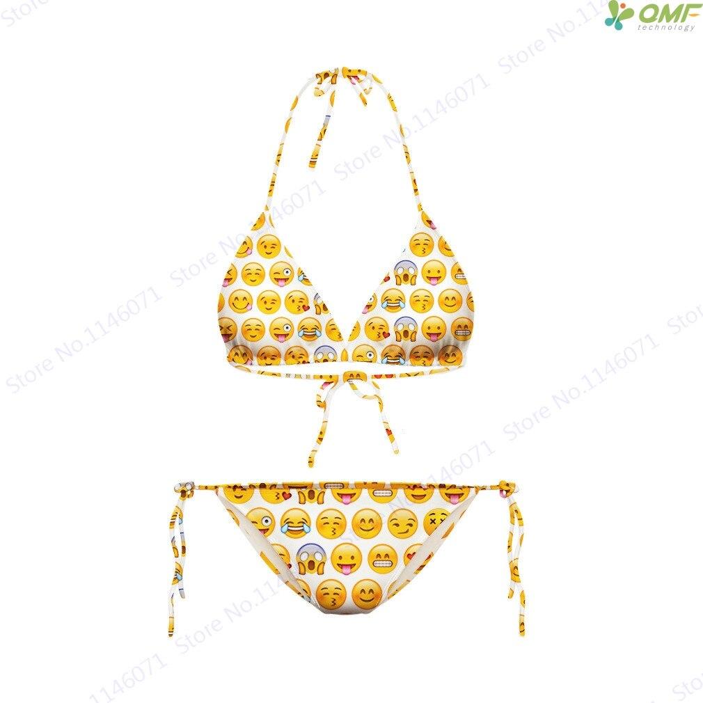92a93ccd9a Funny Emoji Print Bikinis Set Cute QQ Face Emoticons Swimsuit Bikini ...