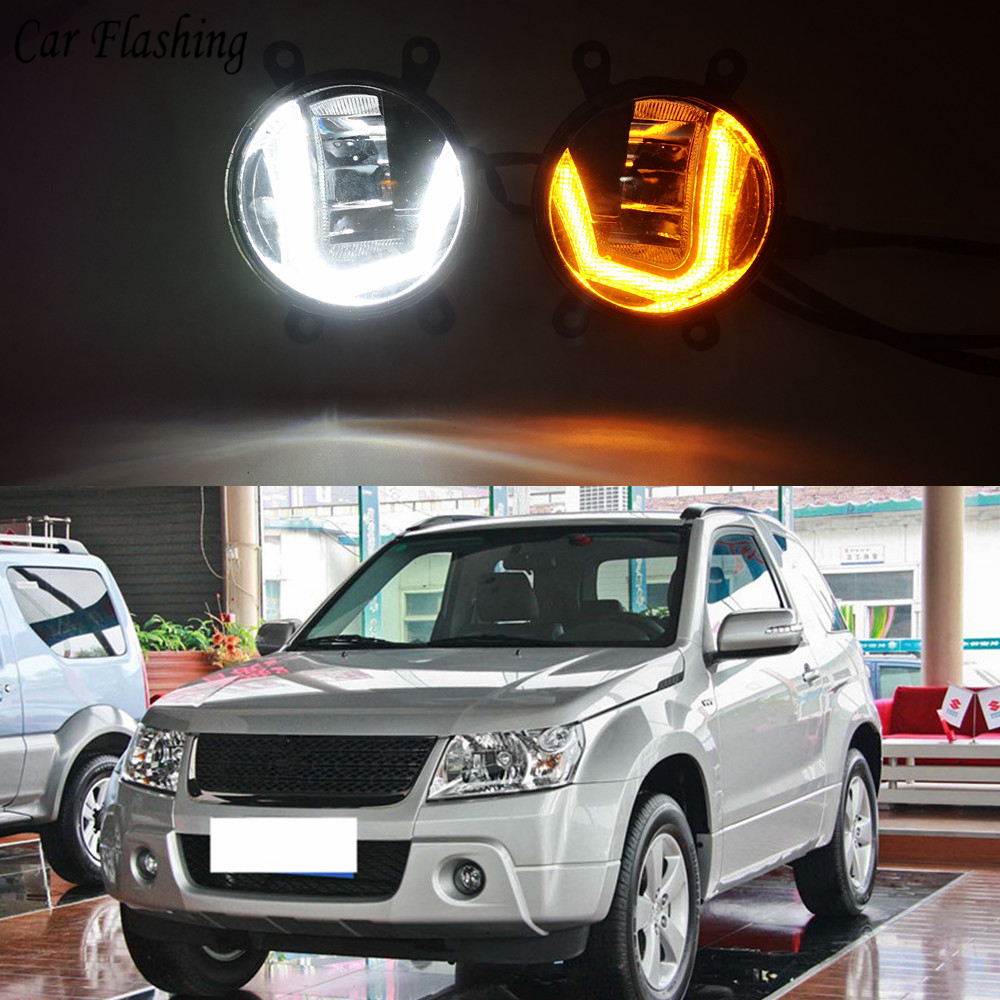 1Set 3 IN 1 Functions Auto LED DRL Daytime Running Light Car Projector Fog Lamp signal