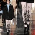 Collants Nova Meia-calça Collant Limitada 2016 Mulheres Moda Beleza Passarela Europeu Padrão de Impressão Inverno Engrossar Terry Meias