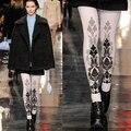 Medias Nueva Pantimedias Collant Limitada 2016 Mujeres Moda Belleza Catwalk Europea Patrón de Impresión Invierno Engrosadas Medias De Toalla