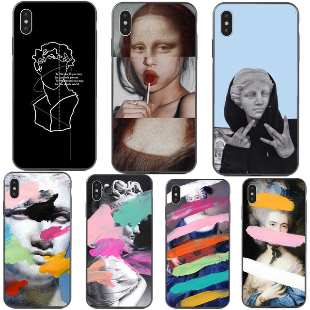 free shipping 957c7 334df US $0.85 21% OFF David Art Painted Phone Cases For iphone X XS SR XS Max  Fashion Mona Lisa Soft TPU Back Cover For iphone 5 5S SE 6 6S 7 8 Plus-in  ...