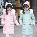 2016 Fashion Girl Down jackets coats for Winter Parkas fur long model warm Children down Outerwear &Coats baby girl down  jacket