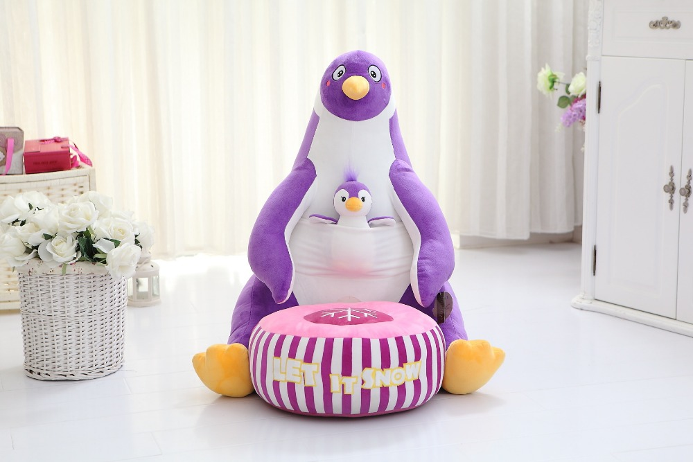 cute plush penguin toy cartoon purple penguin sofa children's tatami gift about 70cm