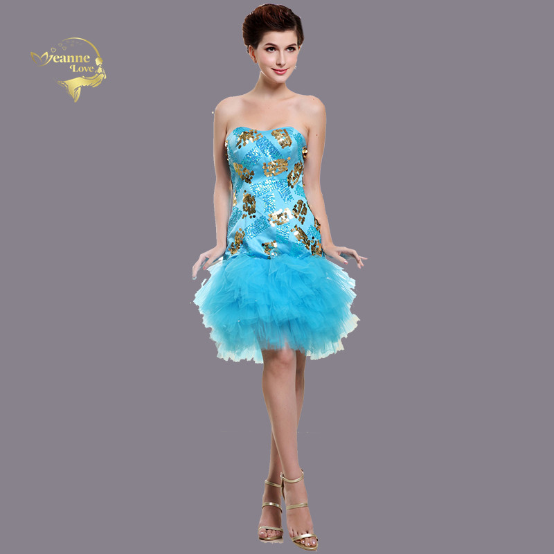 Light Sky Blue   Cocktail     Dresses   Tulle Sequin Short Party Prom Gowns Graduation Homecoming   Dresses   robe de soiree courte 2019