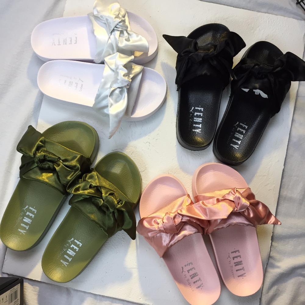 Detail Feedback Questions about Puma X Fenty Bandana Slide Rihanna Bow  Women s Slide Classic Waterproof Beach Slippers Lace bow pink Indoor Shoes  on ... e15614298