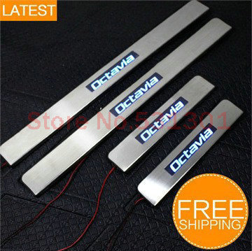 LED Stainless Steel Door Sill Scuff Plate For SKODA Octavia a5 2007-2012 car accessories car-styling 3D sticker Car Interior