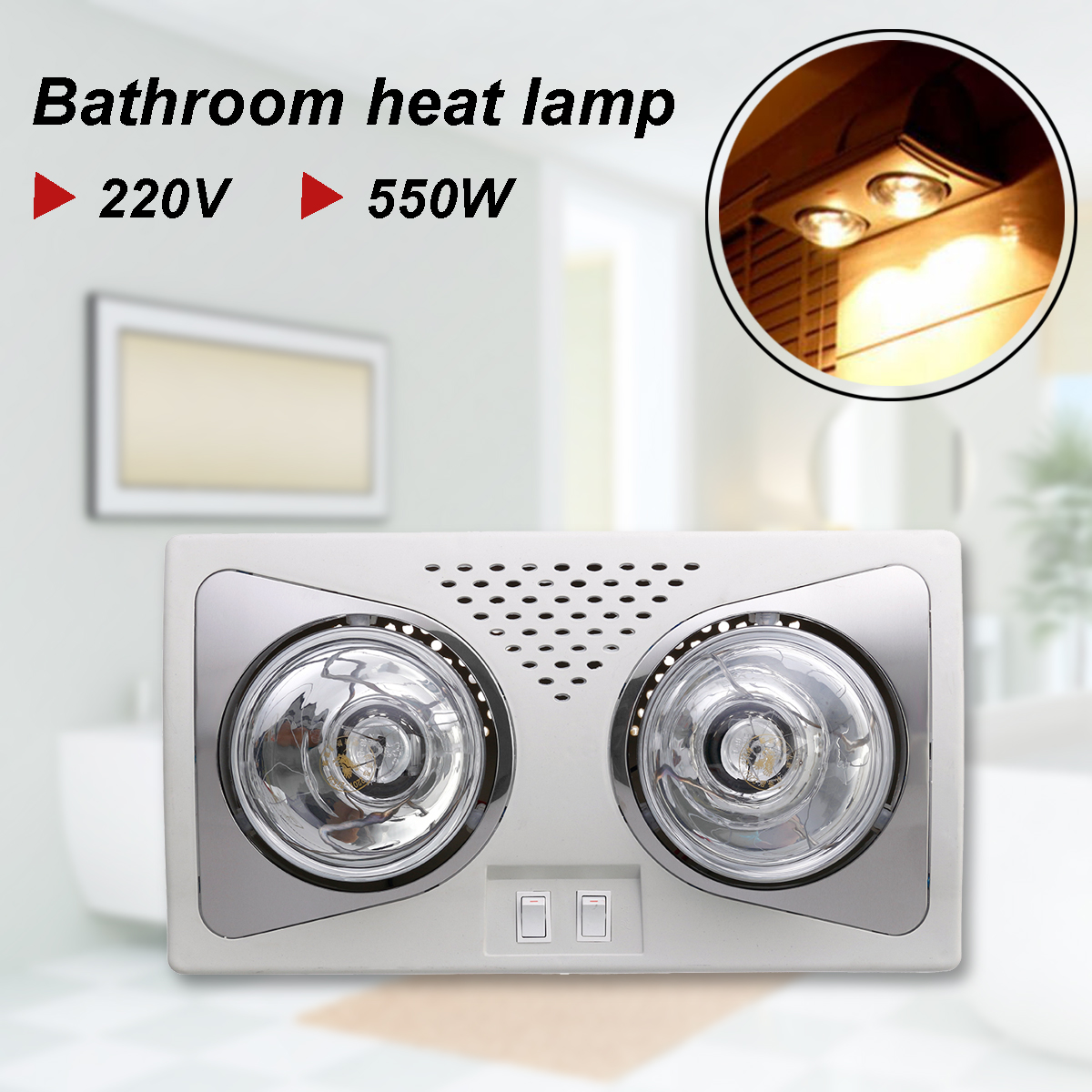 220v 550w bathroom heat lamp led ceiling lighting warm 18681