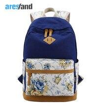 Aresland Мода цветок Для женщин рюкзак Mochila печати Повседневное холст Рюкзаки для женщин для подростков Обувь для девочек плечи мешок