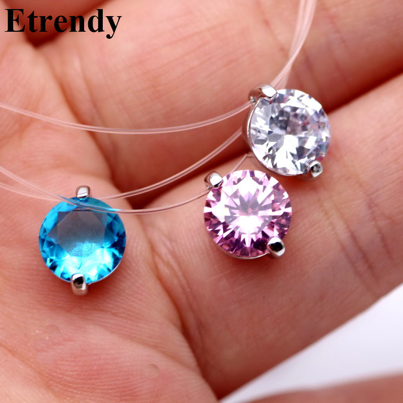 Invisible Line Colorful Zircon Choker Necklace Women New Fashion Jewelry Cute Gift Whie Pink Blue