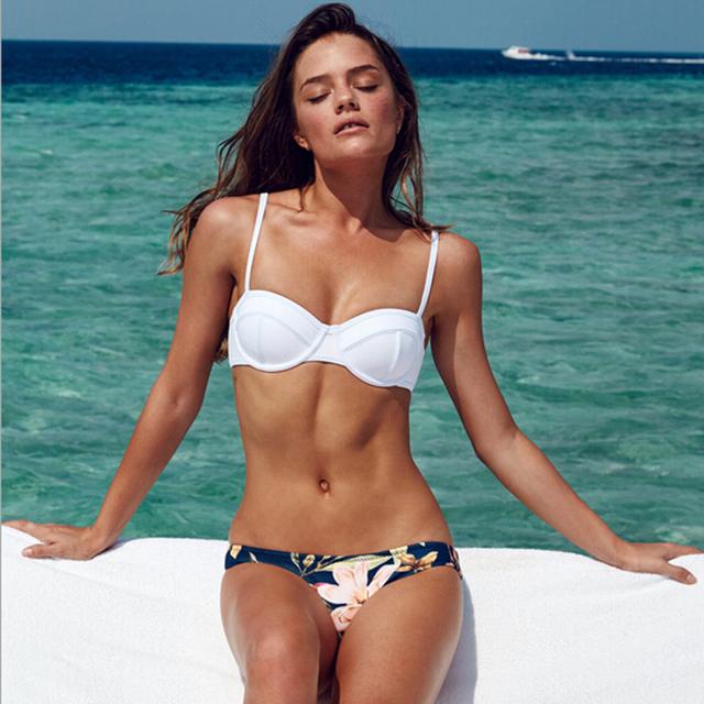 New 2016  Swimwear Women Floral Bikini Brazilian Bandeau swimsuit Push Up