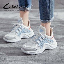 2019 Spring New Style Dad Shoes L 43 Korean-Style Platform Students Leisure Sports White Female
